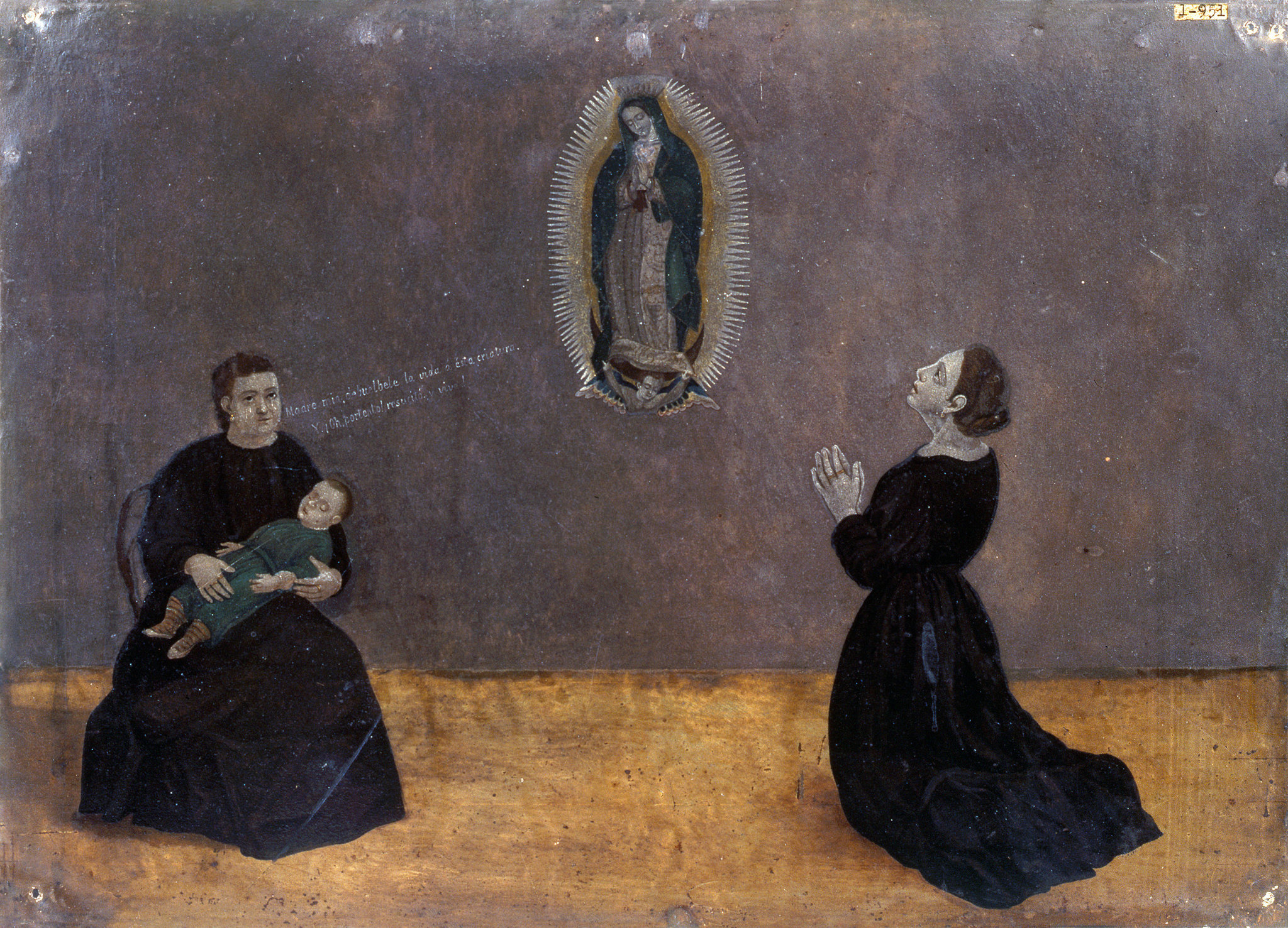 An exvoto created by an unknown artist in the late 19th century, part of an exhibition of art work inspired by the Virgin of Guadalupe at the Bowers Museum in Santa Ana.