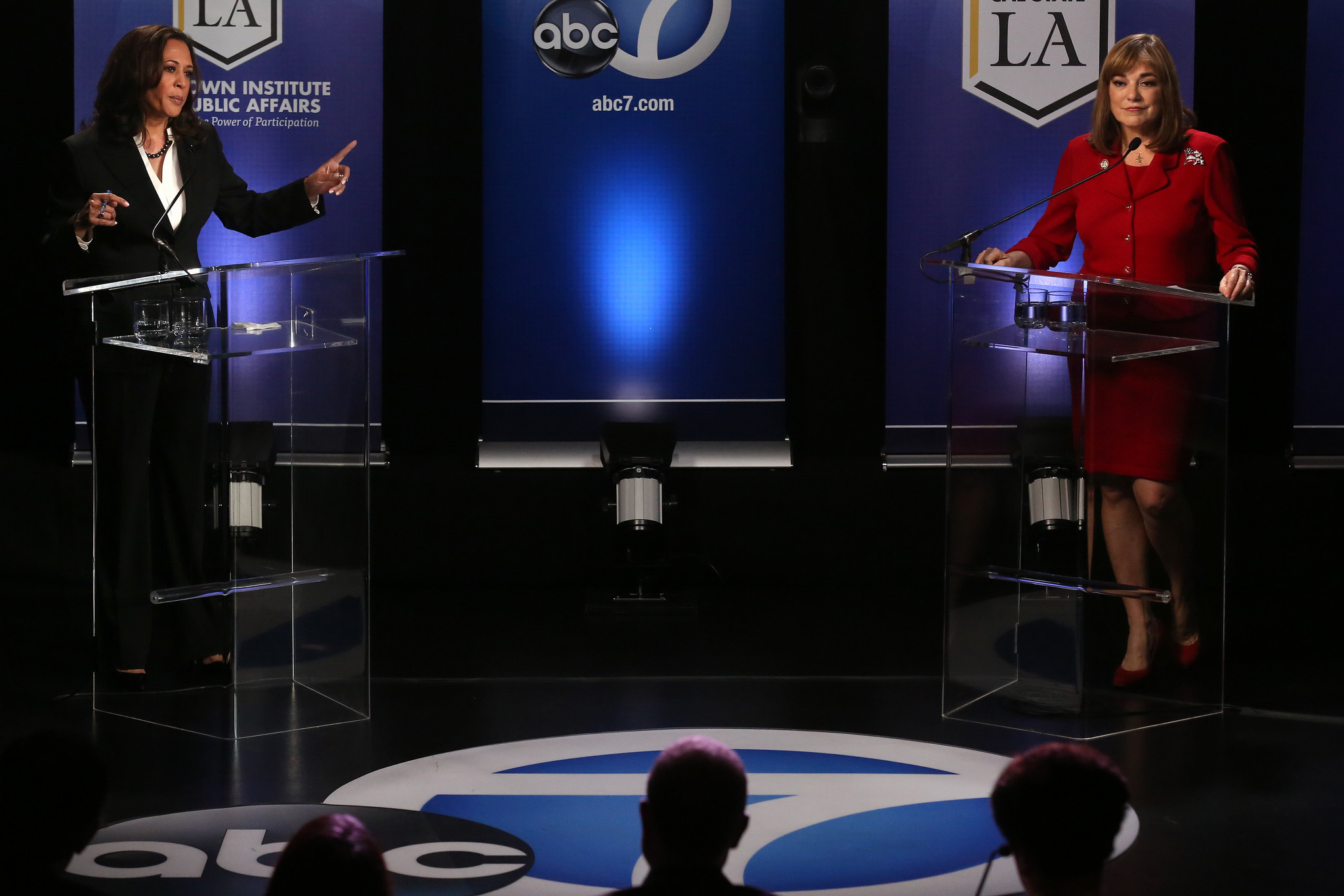 U.S. Senate candidates Kamala Harris, left, points a finger toward rival Loretta Sanchez during their debate at Cal State L.A. on Wednesday, Oct. 5. (Rick Loomis / Los Angeles Times)