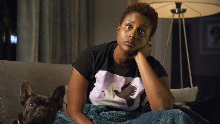 "Issa Rae plays a young woman uncertain about her future in HBO's ""Insecure,"" a new series co-created by Rae and Larry Wilmore. (Anne Marie Fox / HBO)"