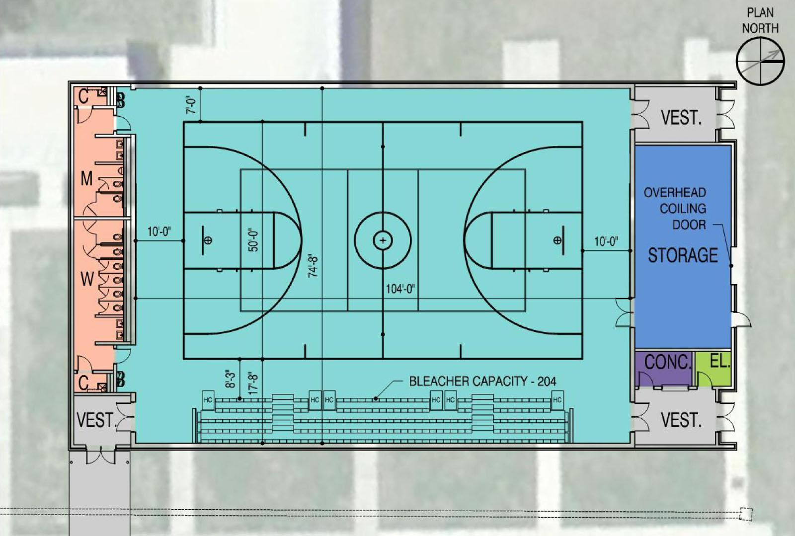 Design for lafayette high school auxiliary gym brings for Basketball gym floor plan