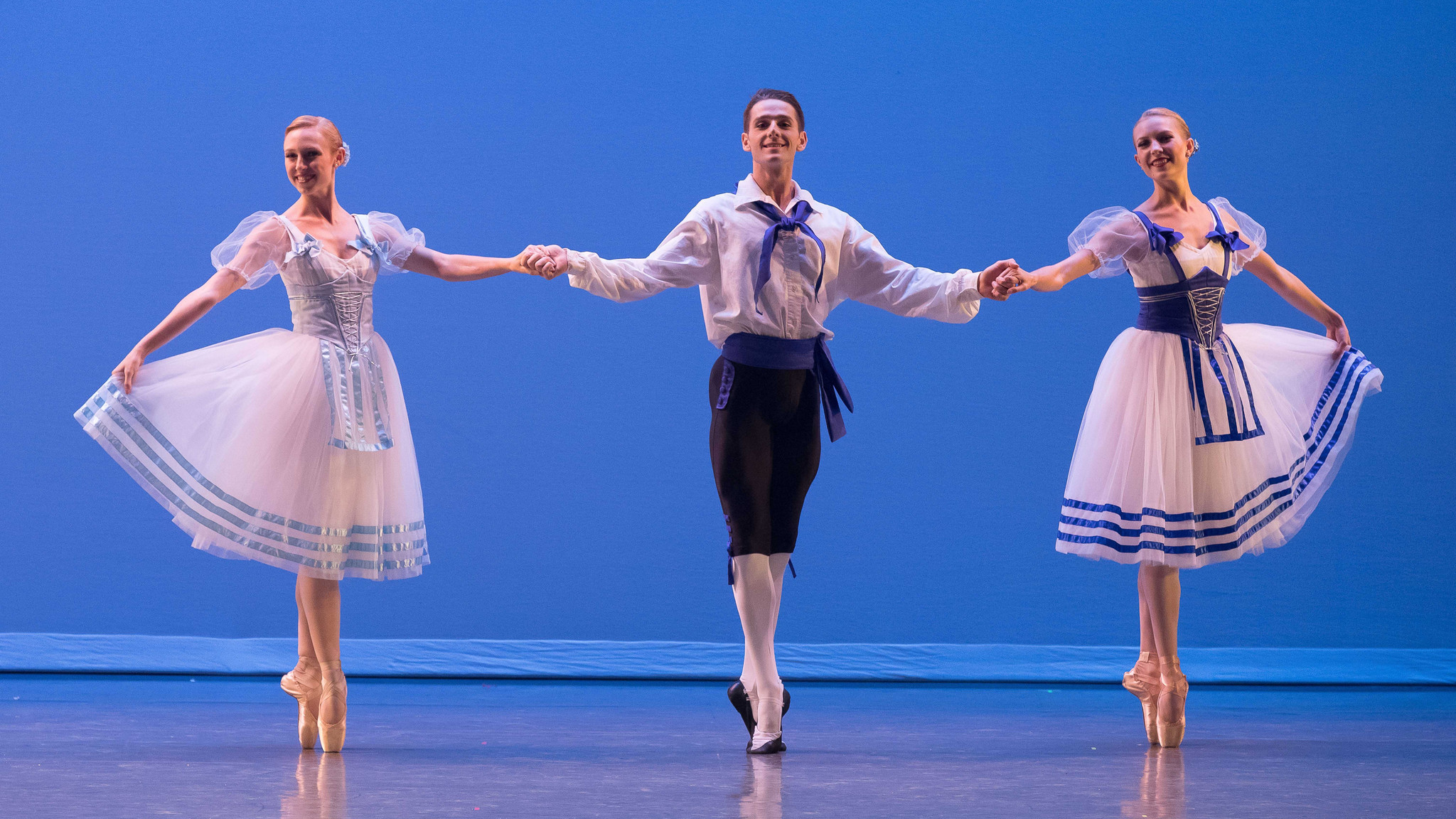 "Dustin True flanked by Ashley Millar, left, and Madeline Houk in the ""Napoli"" excerpt."