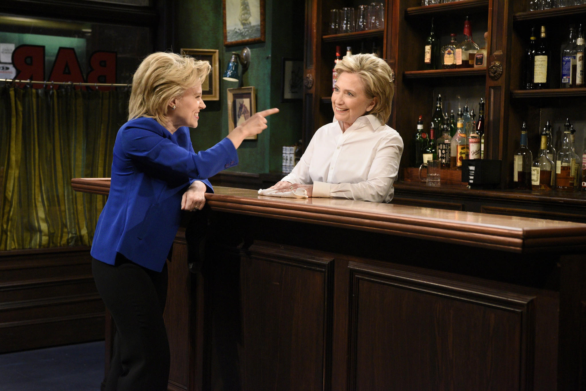 "Kate McKinnon as Hillary Clinton, left, and the real Clinton on ""Saturday Night Live"" in 2015. (Dana Edelson / Associated Press)"