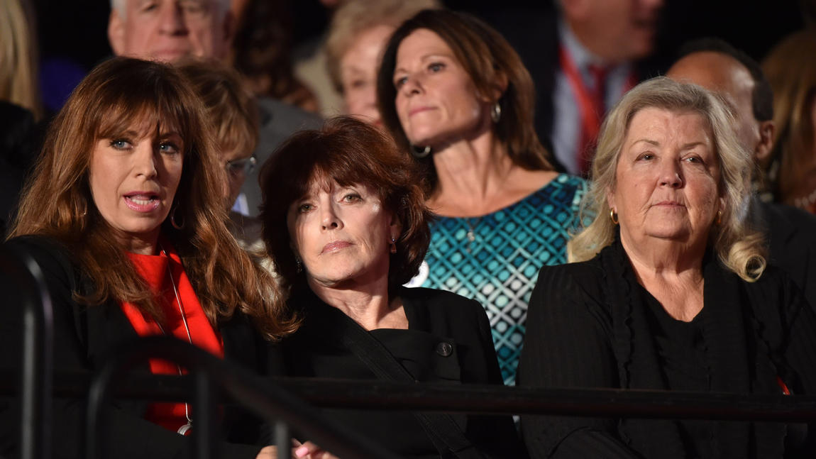 Paula Jones, from left, Kathleen Willey and Juanita Broaddrick, who have all accused former President Clinton of sexual misconduct, attended the second presidential debate in St. Louis as guests of Donald Trump. (Paul J. Richards / AFP / Getty Images)