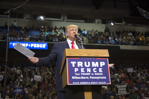 Donald Trump at a rally in Wilkes-Barre, Pa. (Jessica Kourkounis / Getty Images)