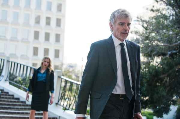 "Nina Arianda and Billy Bob Thornton in ""Goliath,"" a new legal drama from David E. Kelley. (Amazon Studios)"