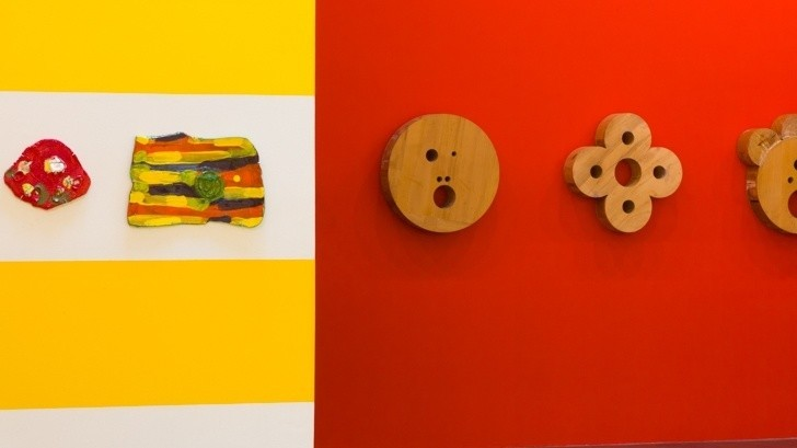 Clay tablets and wooden icons line the walls at the Ben Maltz Gallery at Otis College of Art and Design.