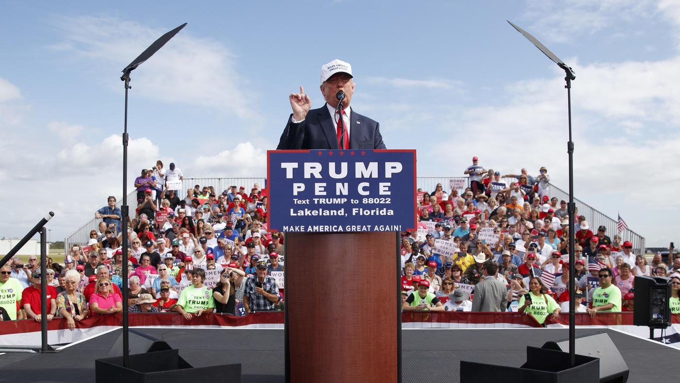 Donald Trump campaigns Wednesday in Lakeland, Fla. (Evan Vucci / Associated Press)