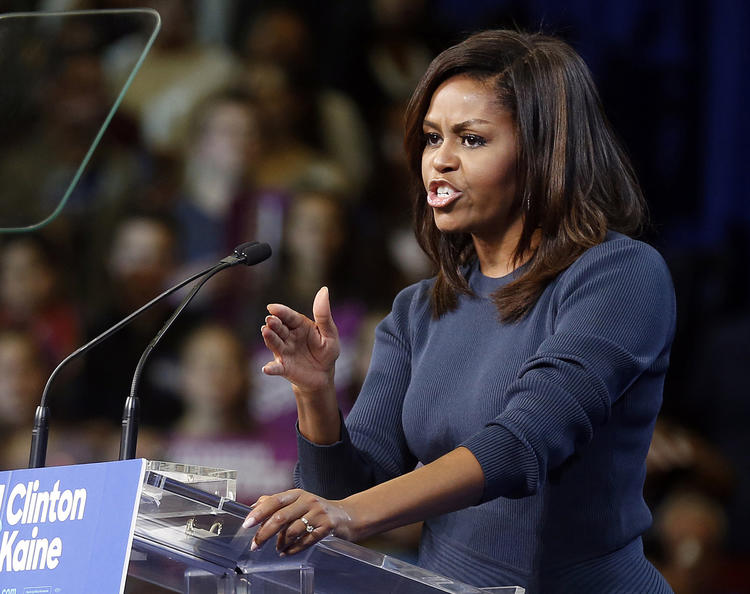 Michelle Obama speaking in New Hampshire last month.