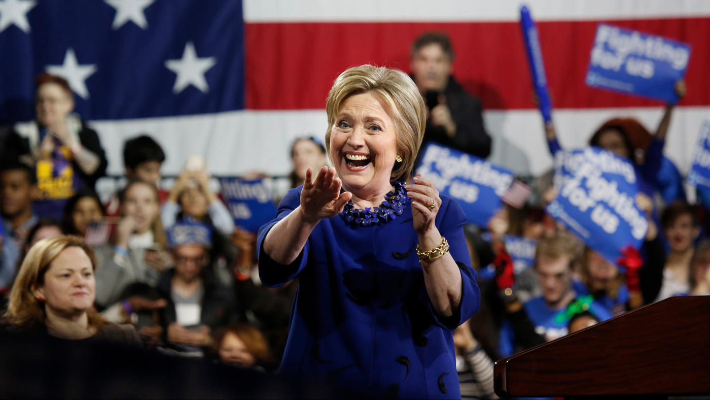 Hillary Clinton holds a rally in New York on March 2. (Los Angeles Times)