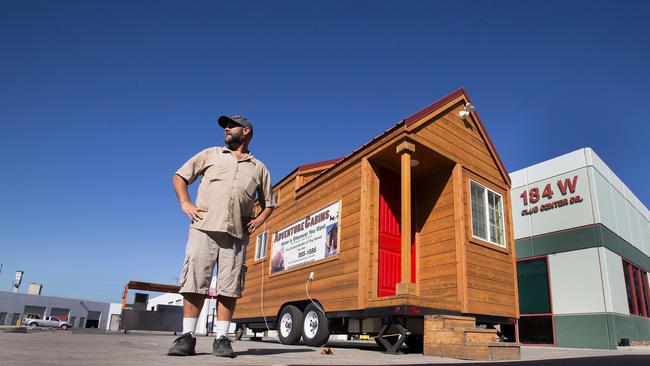 Travis Saenz Of Adventure Cabins, A San Bernardino Company That Makes Tiny  Homes, Has
