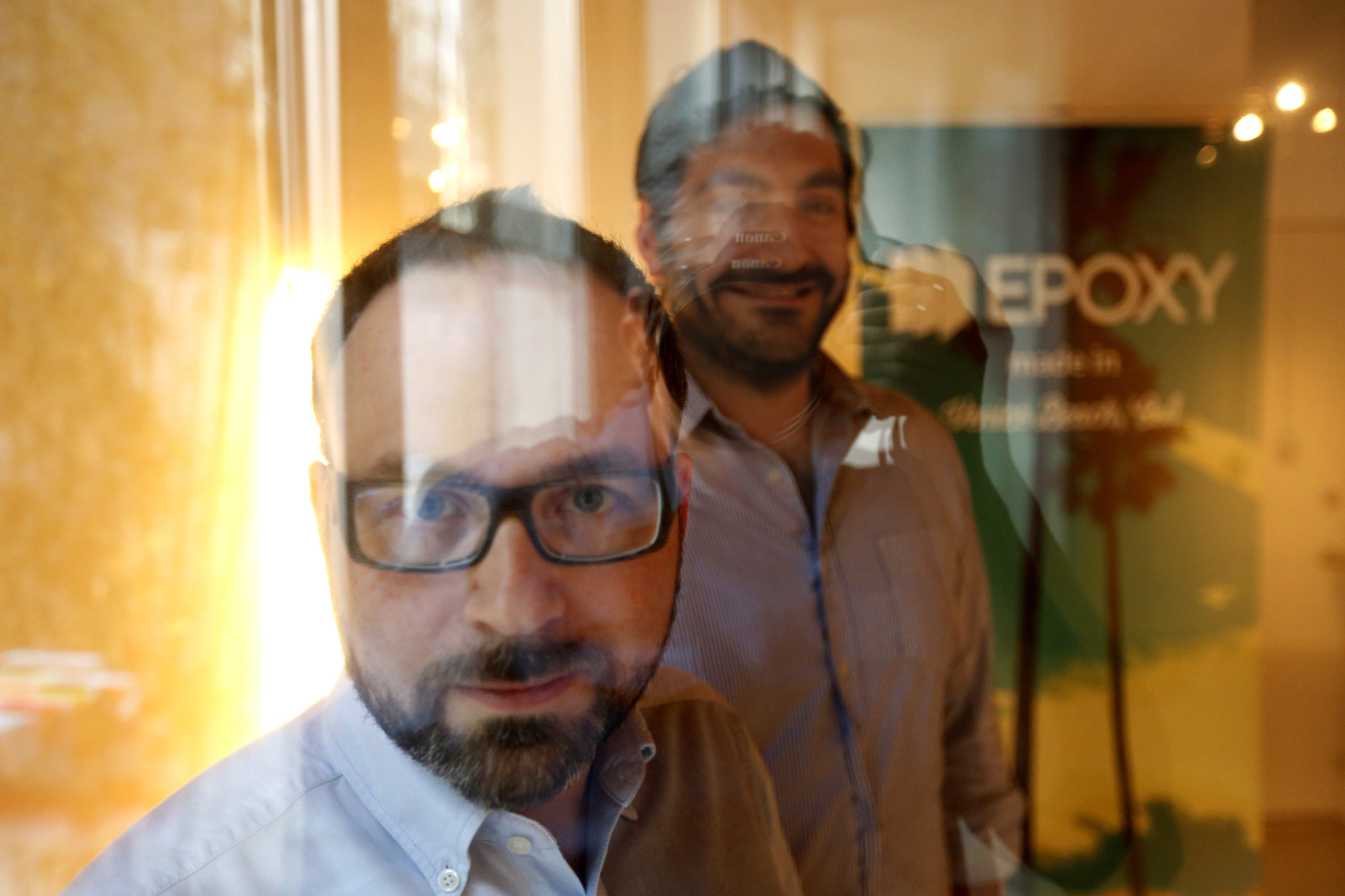 Epoxy co-founders Juan Bruce, left, and Jason Ahmad at the company's headquarters in Venice in January.