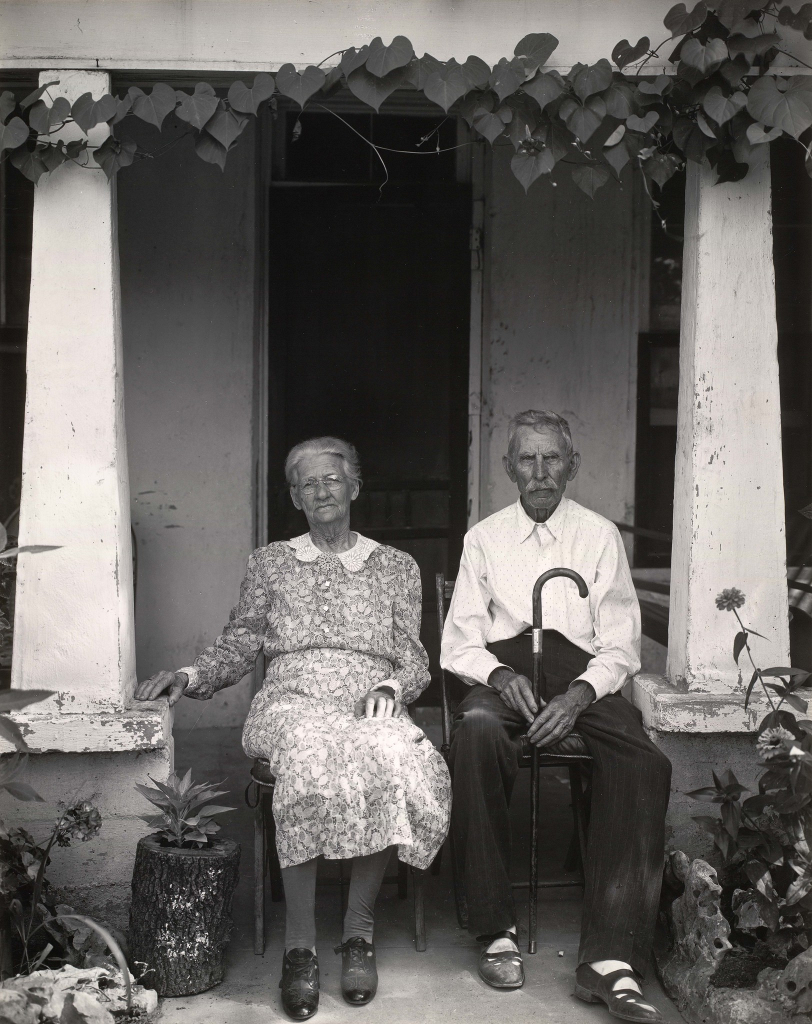 """Mr. and Mrs. Fry of Burnet, Texas, 1941,"" gelatin silver print."