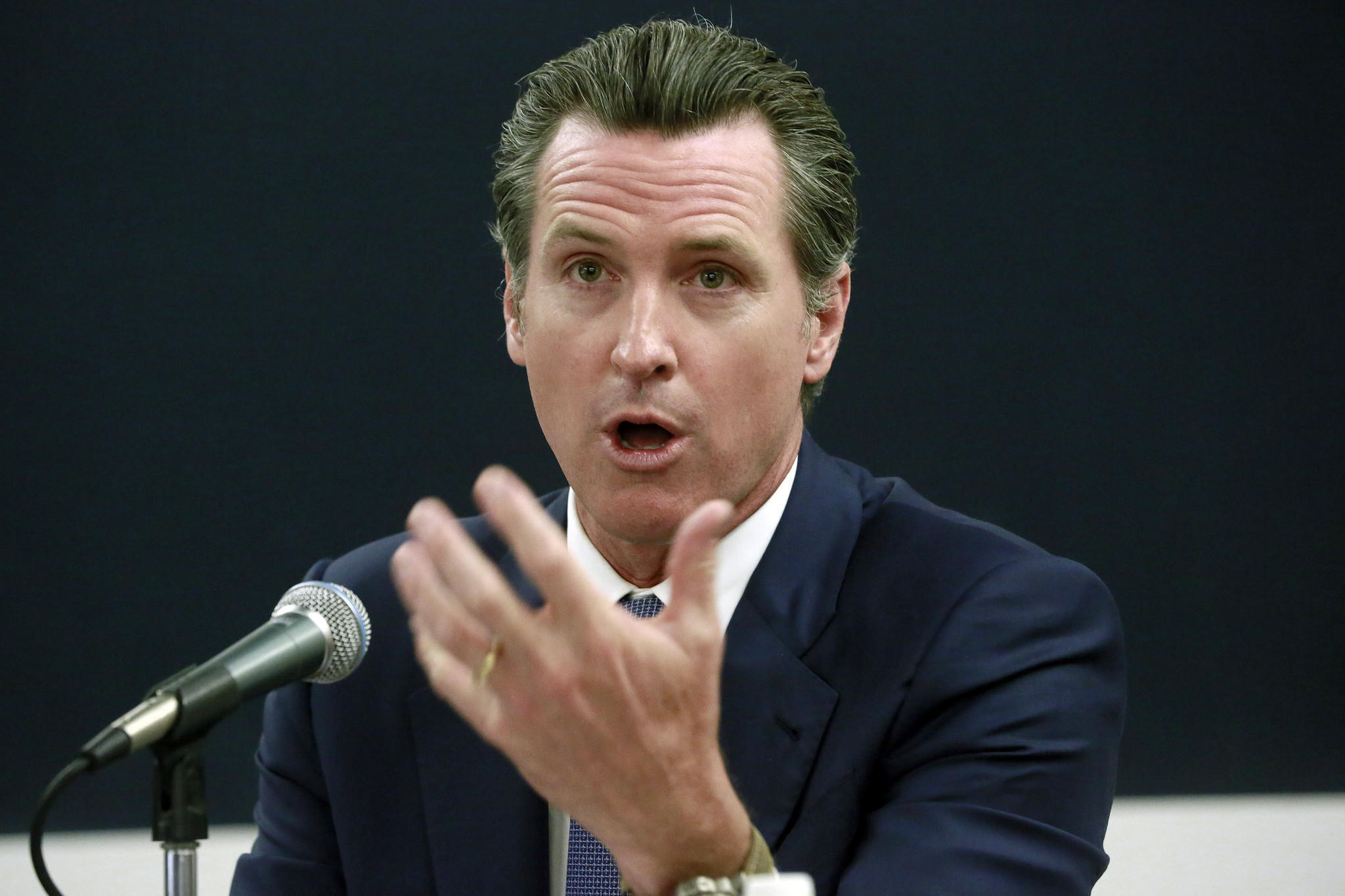 California Lt. Gov. Gavin Newsom speaks at an event in Los Angeles in April. (Nick Ut / Associated Press)