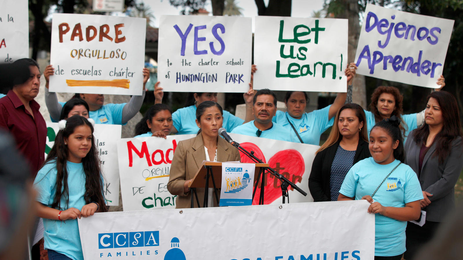 Charter school supporters participate in a rally in front of Huntington Park City Hall. (Allen J. Schaben / Los Angeles Times)