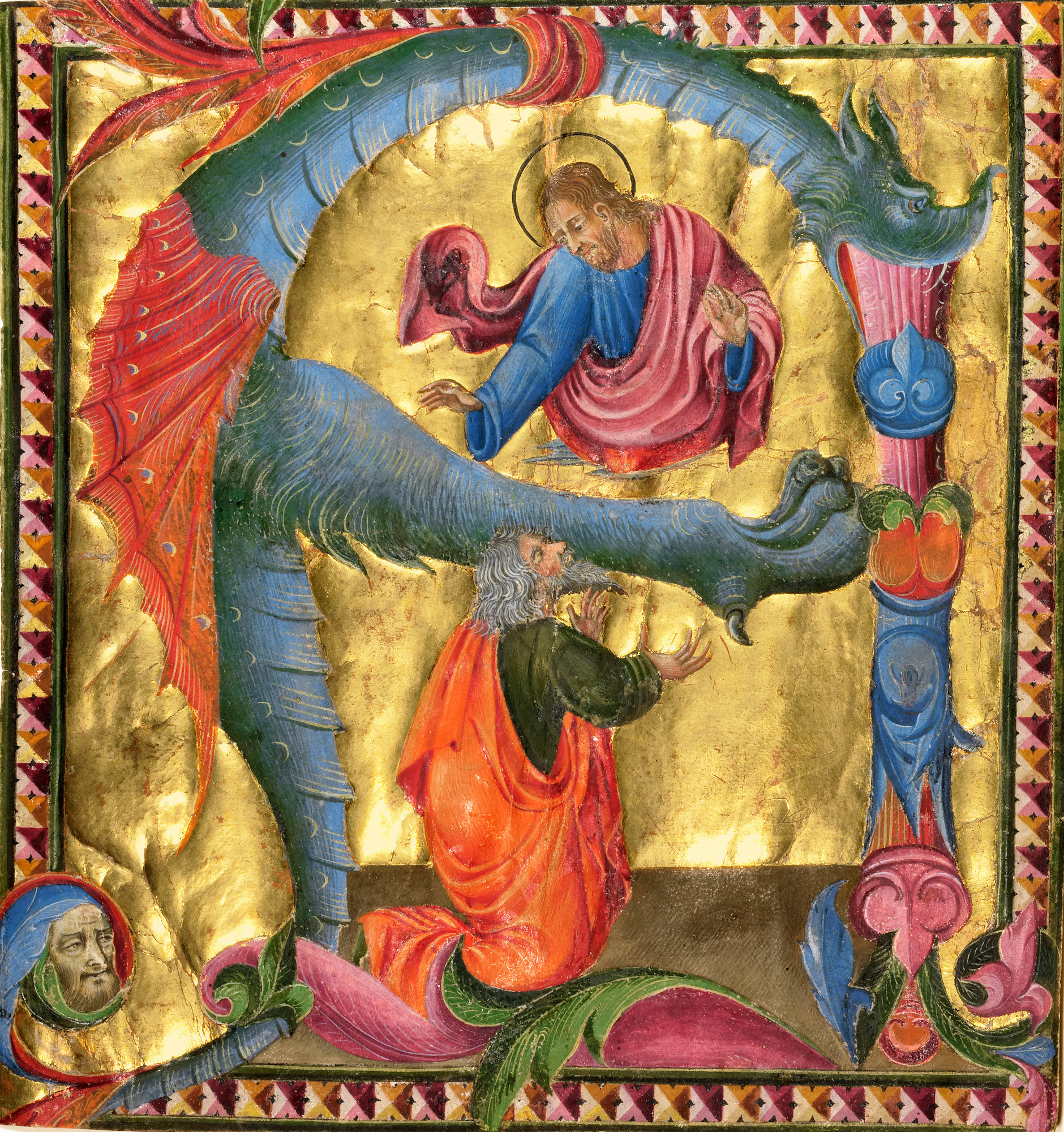 """Giovanni di Paolo, """"Initial A: Christ Appearing to David,"""" about 1440, tempera, gold leaf and ink on parchment."""