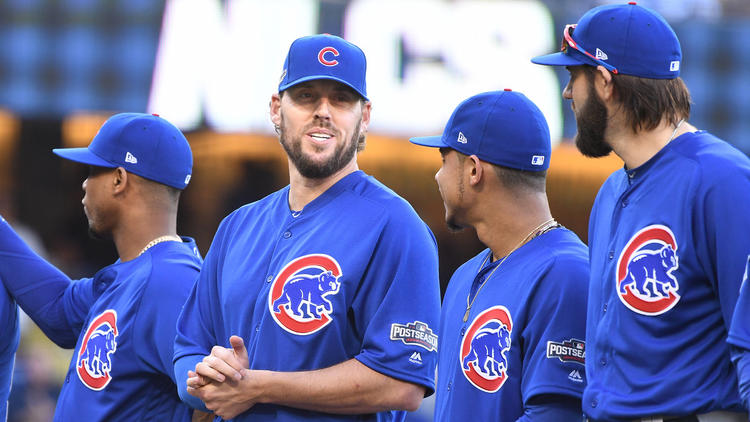 Chicago Cubs pitcher John Lackey (second from left). (Wally Skalij / Los Angeles Times)
