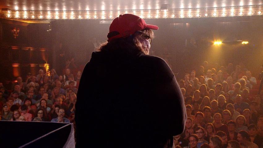 Michael Moore appears at a theater in Wilmington, Ohio. (Dog Eat Dog Films)