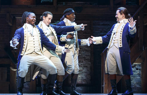 "Chris De'Sean Lee, Jose Ramos, Wallace Smith and Miguel Cervantes inLin-Manuel Miranda's musical ""Hamilton,"" opening Oct. 19 at the PrivateBank Theatre."