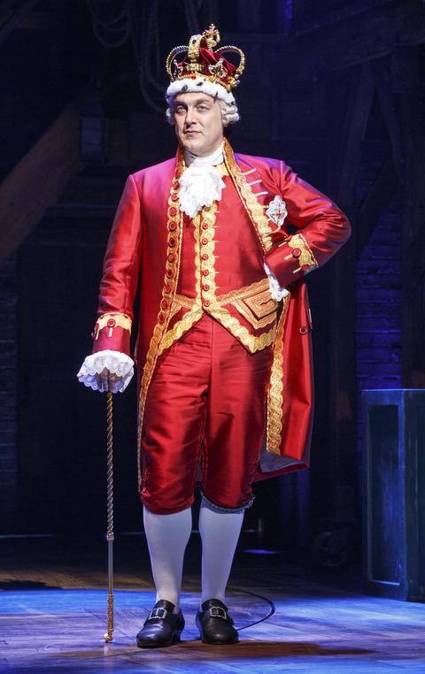 "Alexander Gemignanias King George in Lin-Manuel Miranda's musical ""Hamilton,"" opening Oct. 19 at the PrivateBank Theatre."