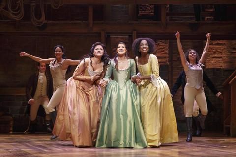 "Karen Olivo, Ari Afsar and Samantha Marie Ware inLin-Manuel Miranda's musical ""Hamilton,"" opening Oct. 19 at the PrivateBank Theatre."