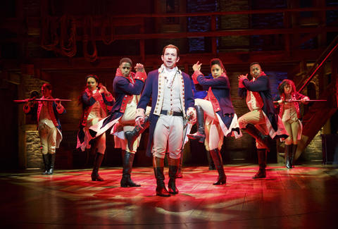 """Miguel Cervantes as Alexander Hamilton with the Chicago company of Lin-Manuel Miranda's musical """"Hamilton,"""" opening Oct. 19 at the PrivateBank Theatre."""