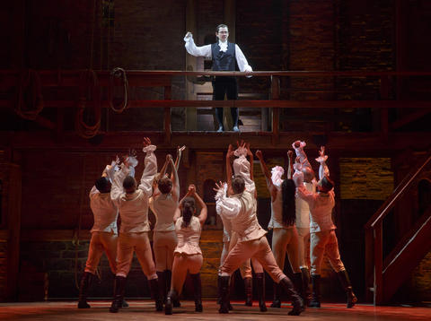 """Miguel Cervantes as Alexander Hamilton and the Chicago company of Lin-Manuel Miranda's musical """"Hamilton,"""" opening Oct. 19 at the PrivateBank Theatre."""