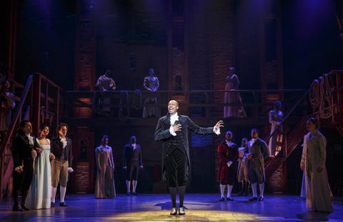 "Jonathan Kirkland as George Washington and the Chicago company of Lin-Manuel Miranda's musical ""Hamilton,"" opening Oct. 19 at the PrivateBank Theatre."