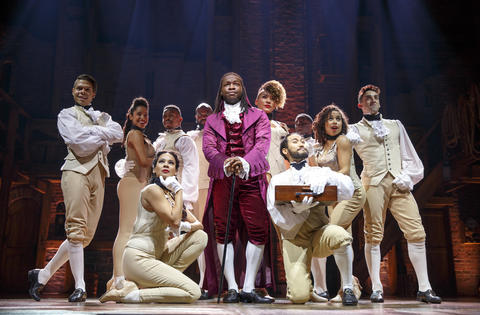"""Chris De'Sean Lee as Marquis de Lafayette with theChicago company of Lin-Manuel Miranda's musical """"Hamilton,"""" opening Oct. 19 at the PrivateBank Theatre."""