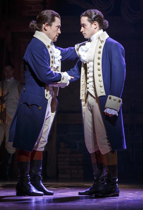 "Miguel Cervantes and Jose Ramos inLin-Manuel Miranda's musical ""Hamilton,"" opening Oct. 19 at the PrivateBank Theatre."