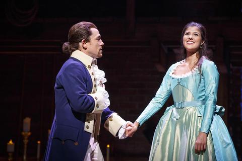 "Miguel Cervantes as Alexander Hamilton and Ari Afsar as Eliza Hamilton inLin-Manuel Miranda's musical ""Hamilton,"" opening Oct. 19 at the PrivateBank Theatre."