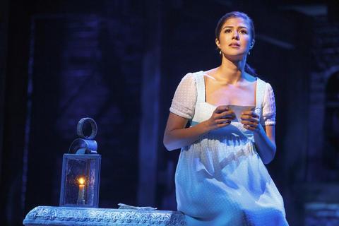 "Ari Afsar as Eliza Hamilton inLin-Manuel Miranda's musical ""Hamilton,"" opening Oct. 19 at the PrivateBank Theatre."