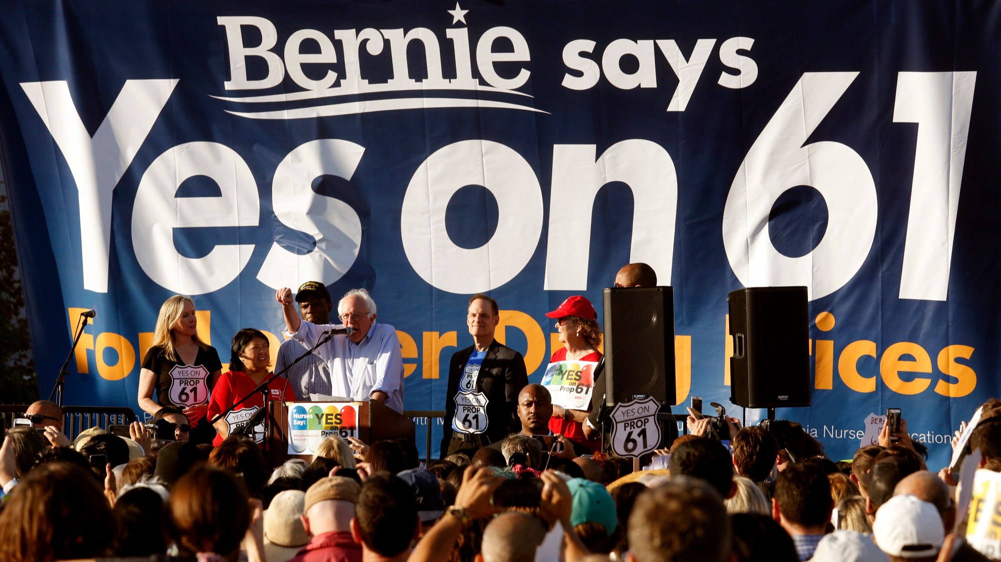 U.S. Sen. Bernie Sanders speaks to the crowd at a rally in Hollywood in support of Proposition 61. (Genaro Molina / Los Angeles Times)