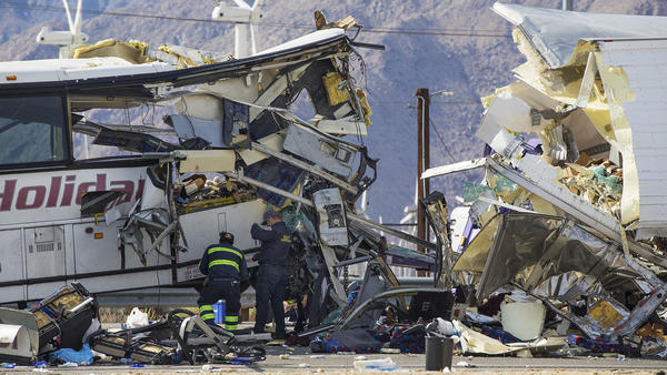 What led to a deadly tour bus crash near Palm Springs?