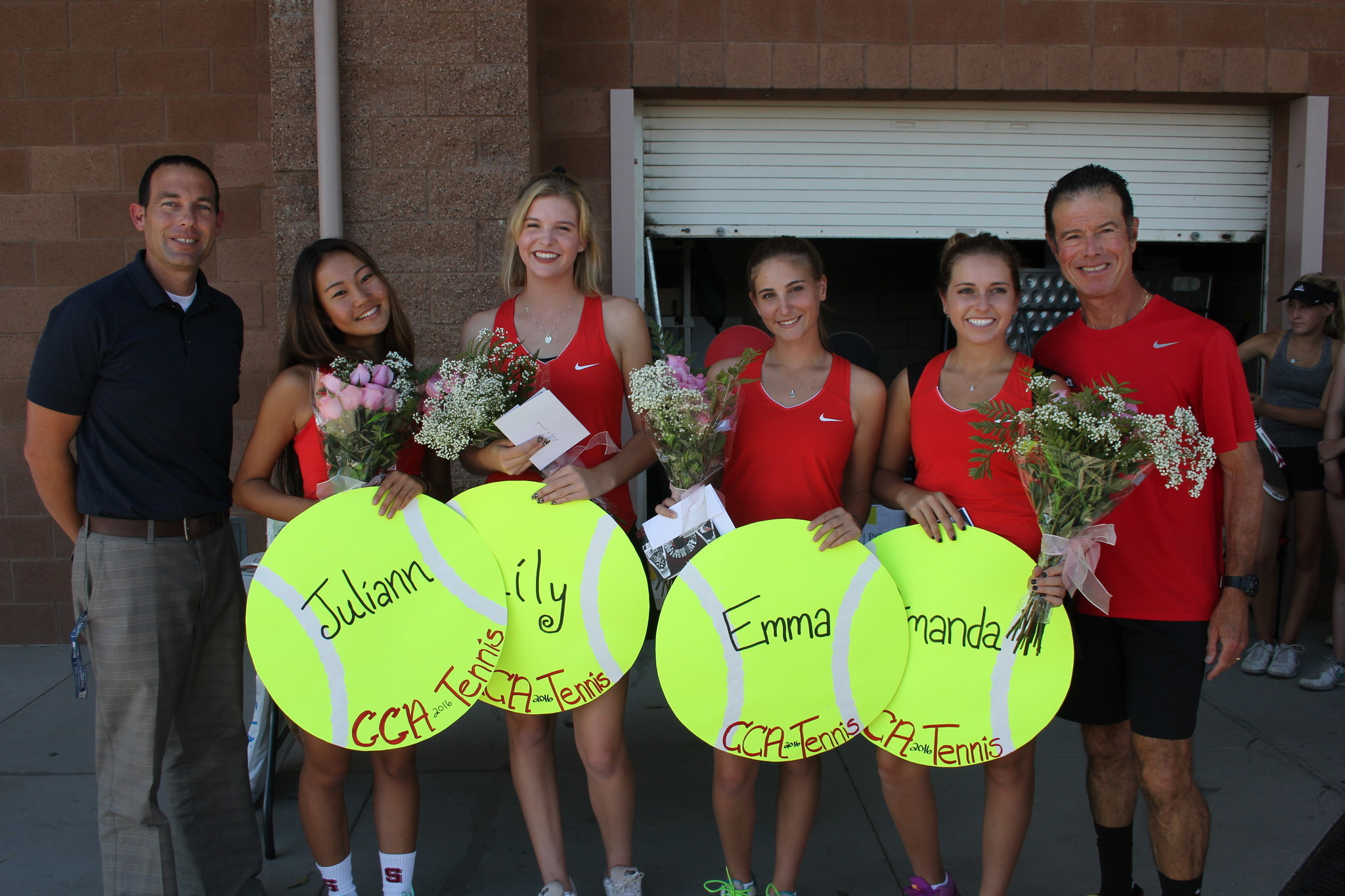 CCA Athletic Director Brian Baum, senior tennis players Juliann Li, Lily Richard Emma Burton and Amanda Schiffman and Coach Larry Belinksy.