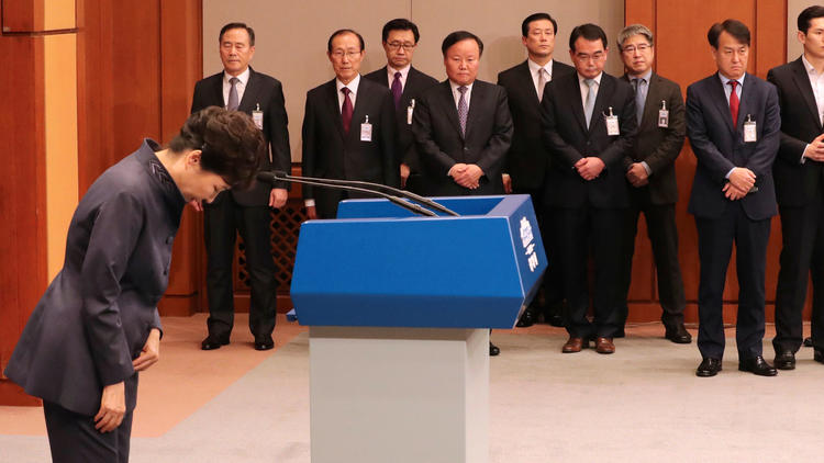 South Korean President Park Geun-hye bows after a public apology in Seoul. (Baek Seung-yul / Yonhap)