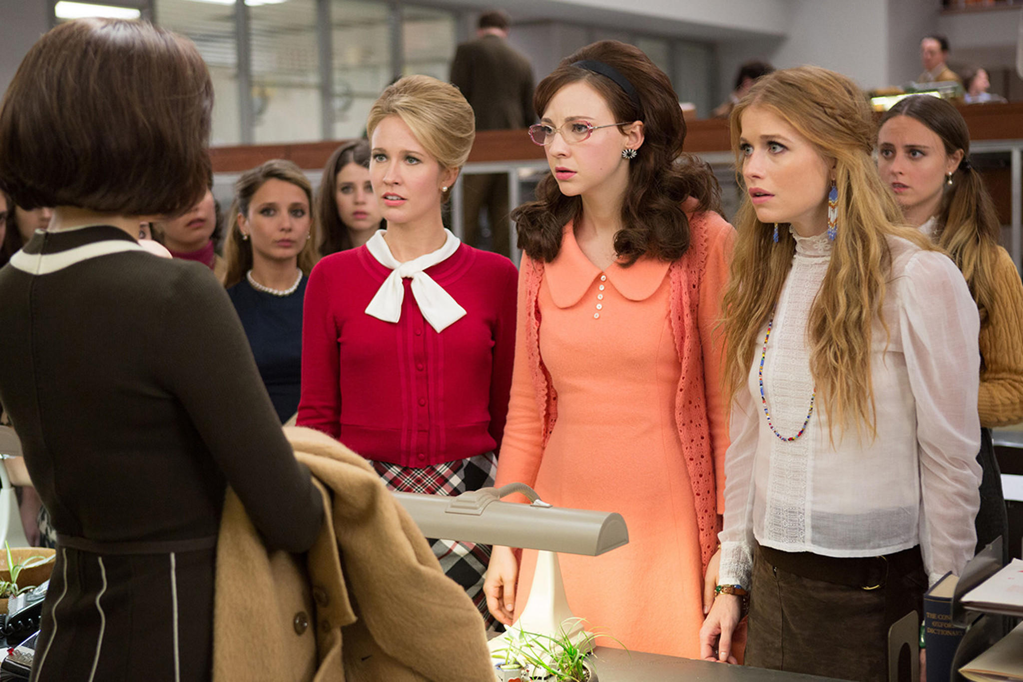 """From left, Anna Camp, Erin Darke and Genevieve Angelson appear in a scene from Amazon Studios' """"Good Girls Revolt."""" (Amazon Studios)"""