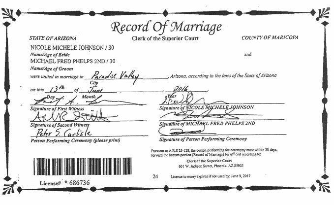 Michael Phelps and Nicole Johnson marriage license - Baltimore Sun