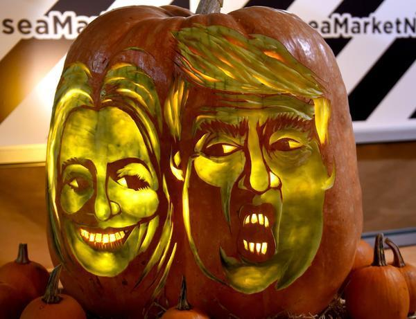Created at 2016 10 31 1926 dailycaller halloween trumpkin and clintkin pumpkins anyone fandeluxe Choice Image