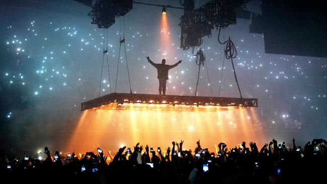 Kanye West, seen performing at the Forum last month, was among Grammy nominees announced Tuesday. (Marcus Yam / Los Angeles Times)
