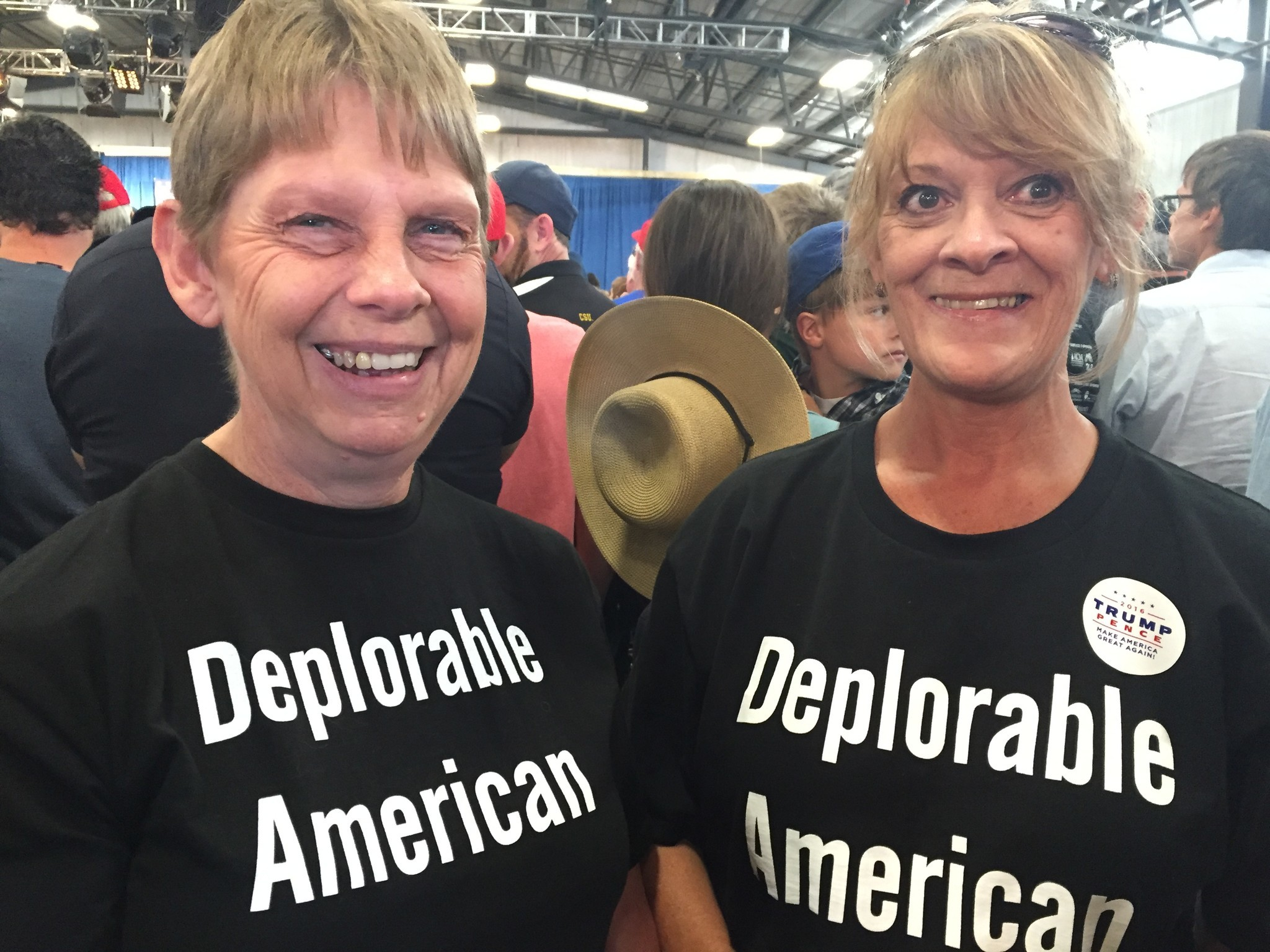Kathy Smith, right, and her neighbor Tina Griffiths attend a Donald Trump rally in Colorado.