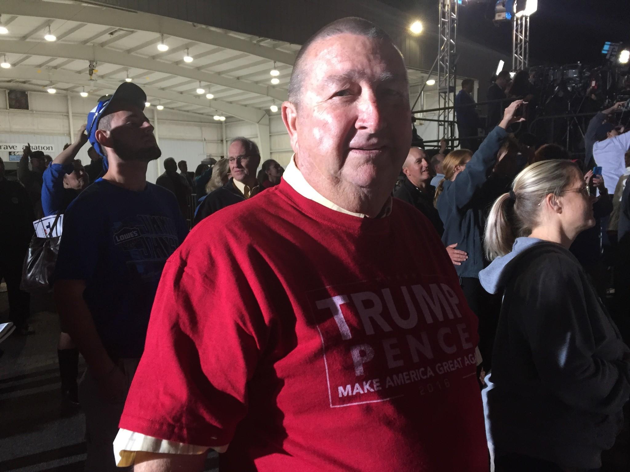 Eddie Creech, a tobacco, corn and bean farmer, attends a Donald Trump rally in Kinston, N.C.