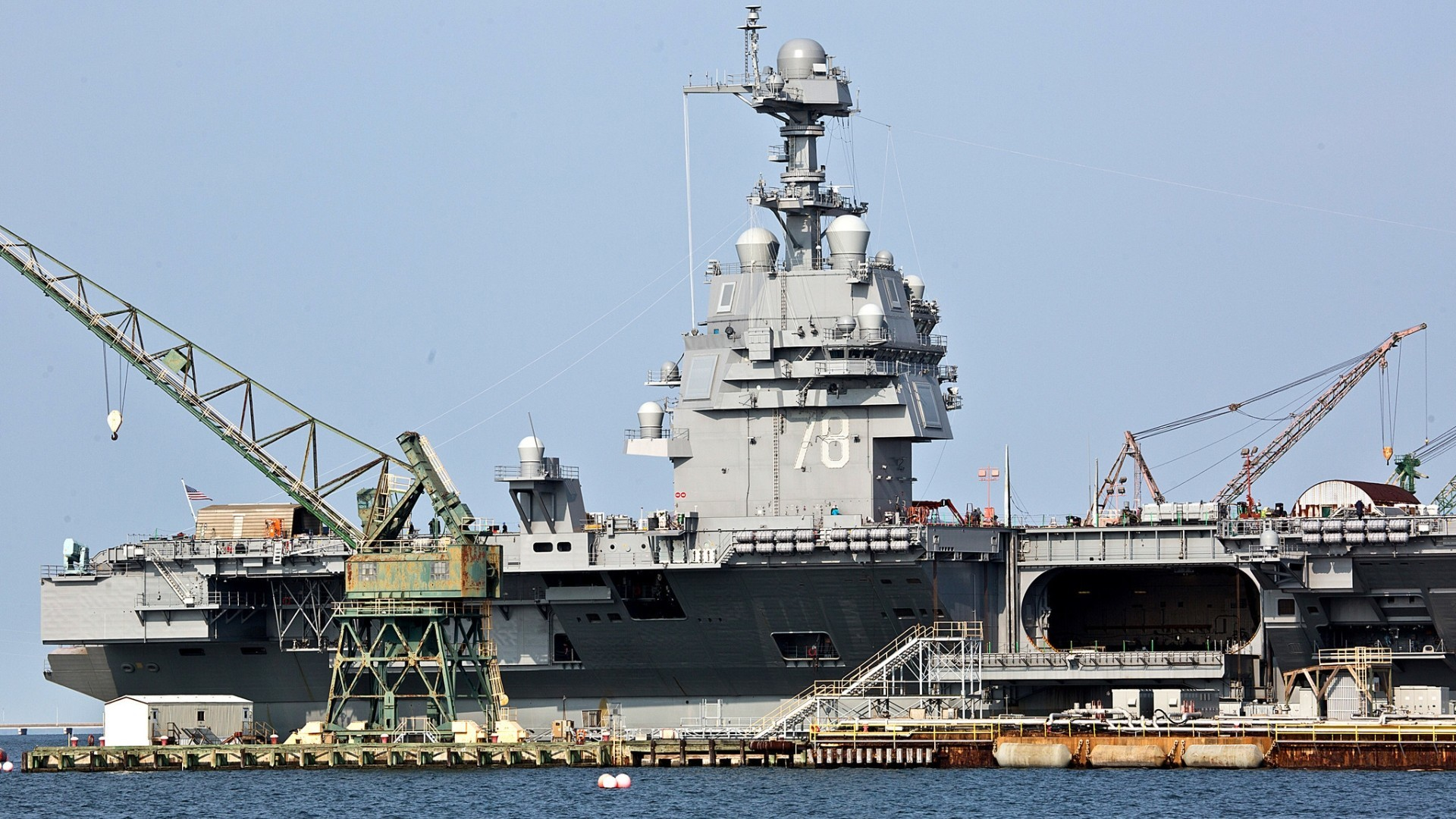 Newport News Shipbuilding S Aircraft Carrier Ford Docked