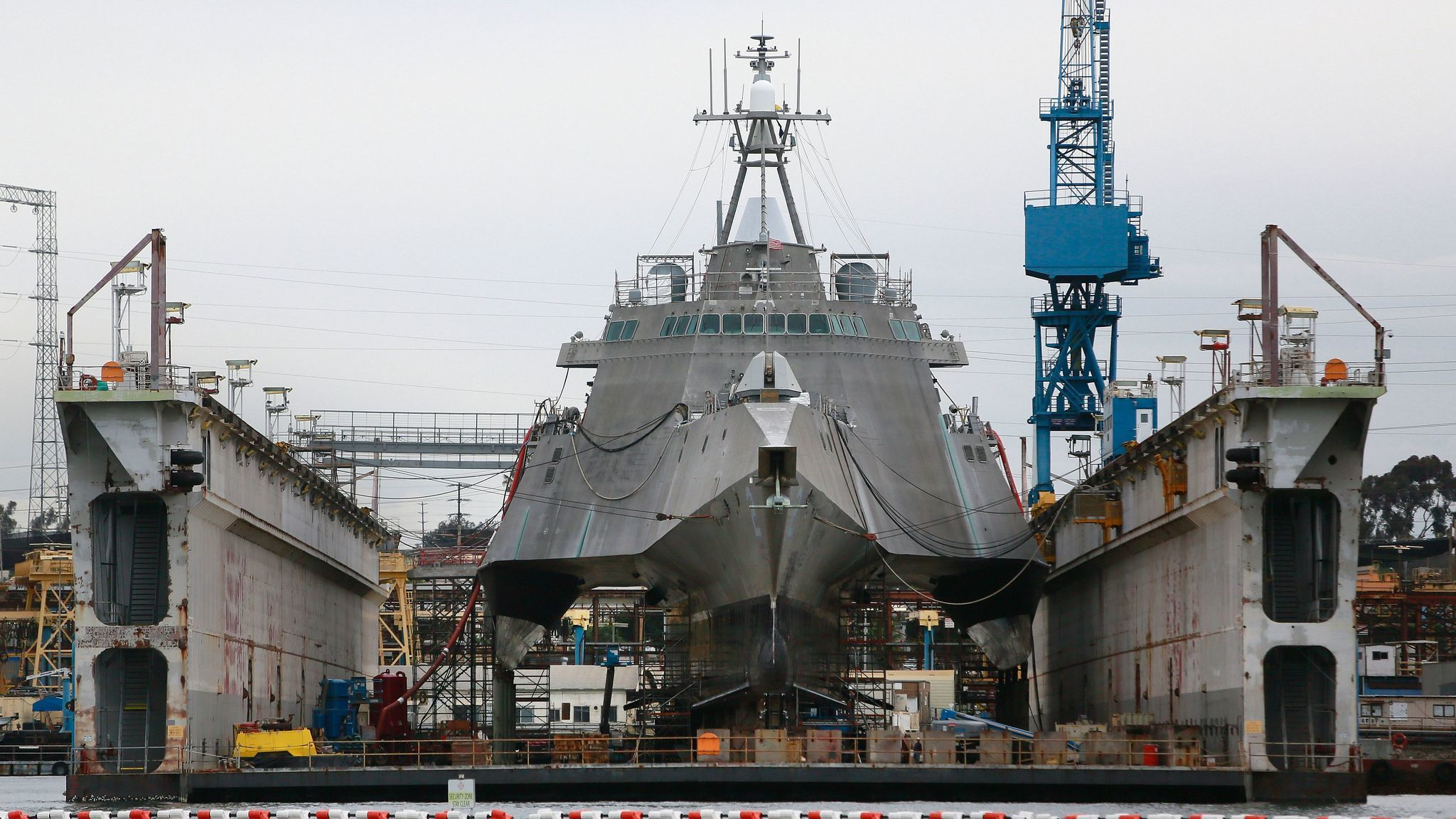The littoral combat ship Independence is undergoing repairs and upgrades at General Dynamics-NASSCO in San Diego.