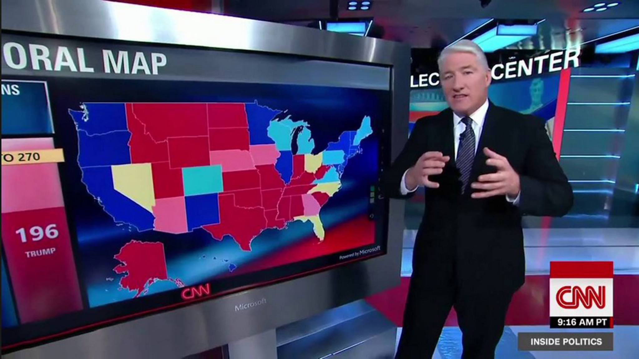 John King in the CNN newsroom going over the electoral map for the 2016 presidential election.
