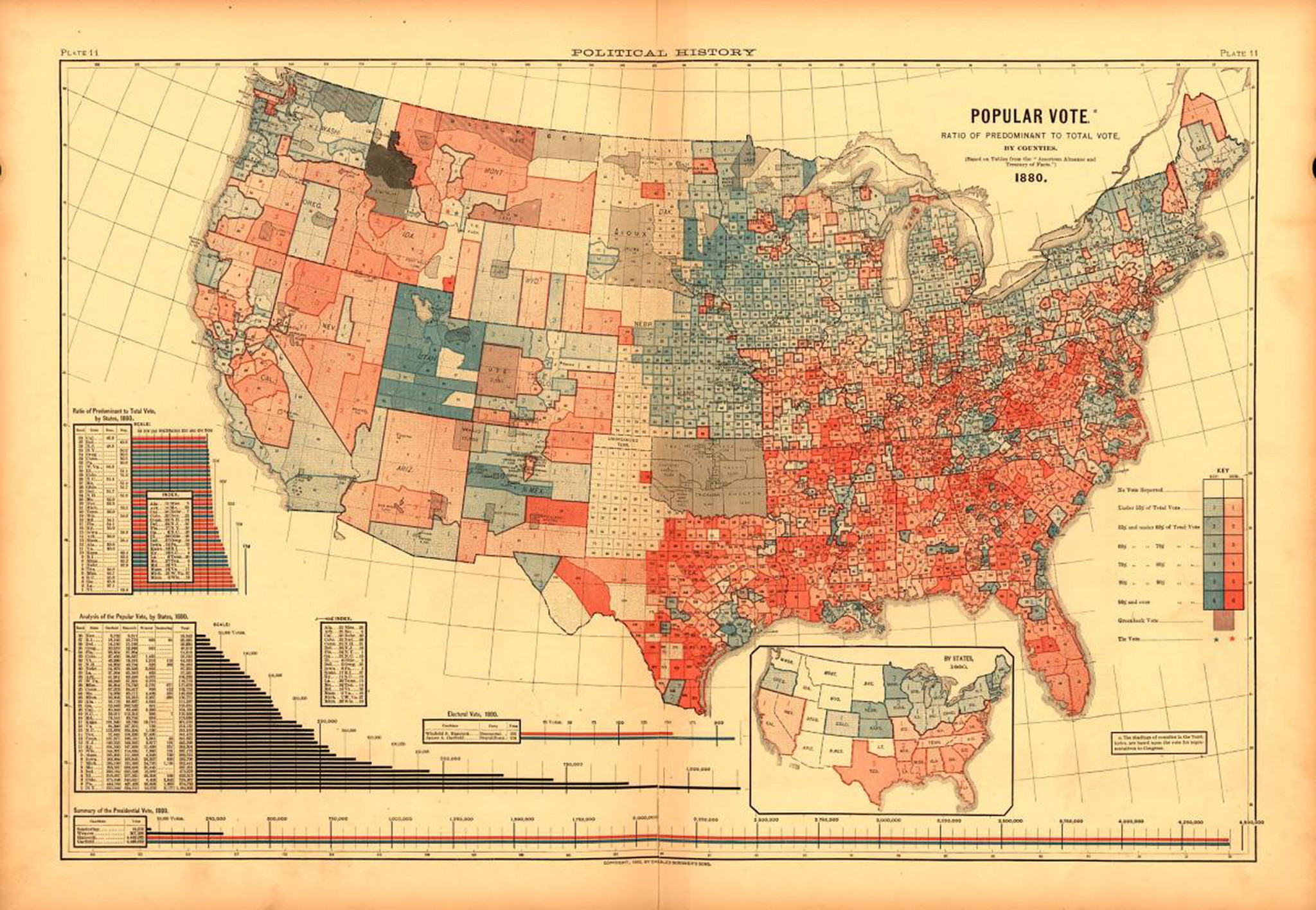 the popular vote of 1880s presidential election as seen on the oldest known us