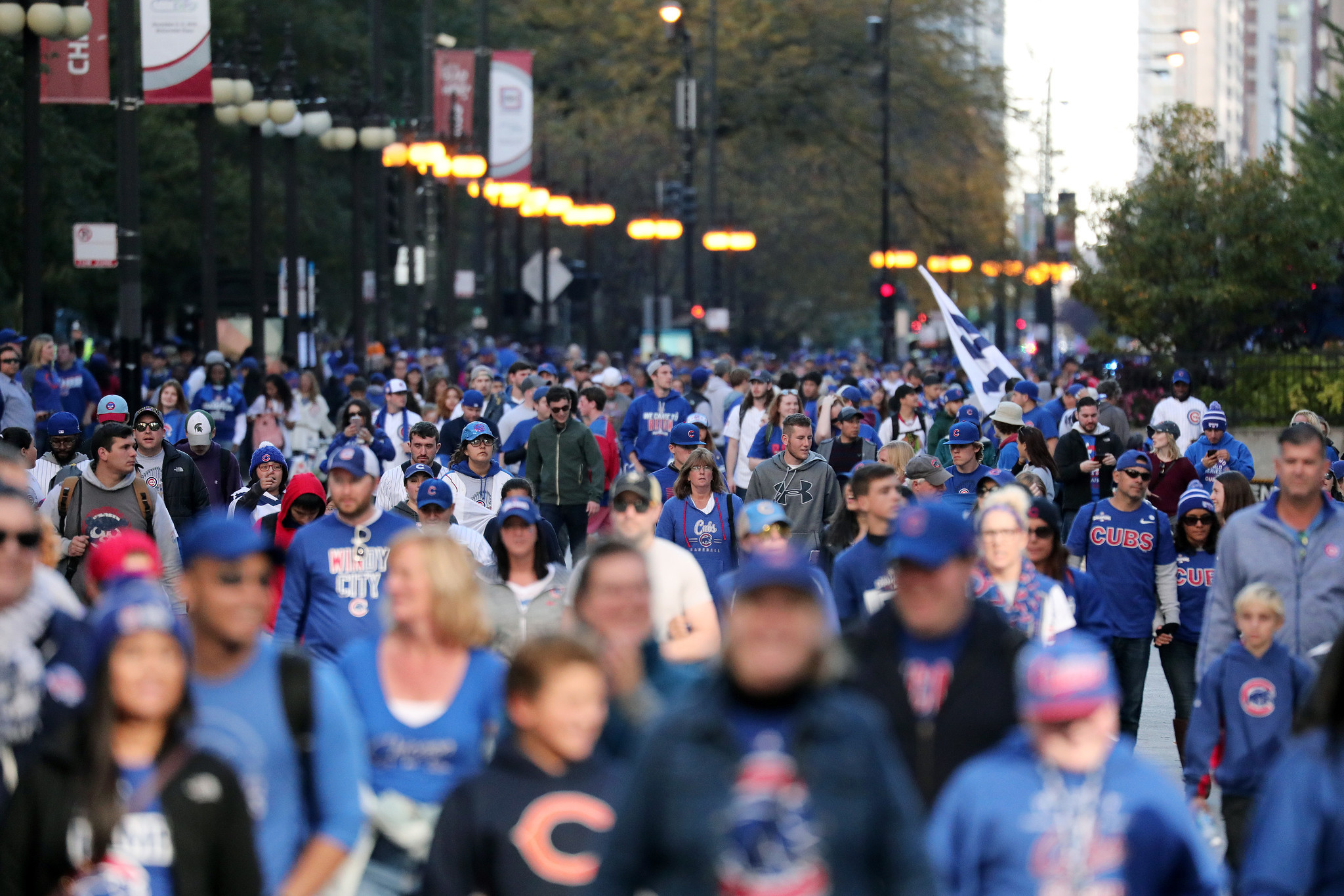 Huge crowds downtown at Wrigley for Cubs World Series parade