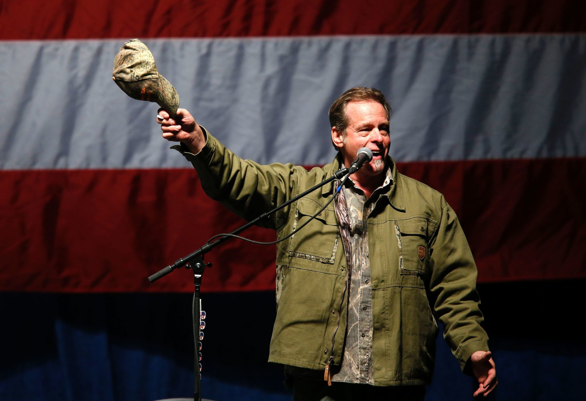 Ted Nugent sings the national anthem before Donald Trump addresses supporters at Freedom Hill Amphitheater on Nov. 6.