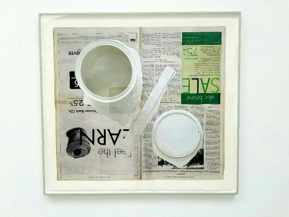 "Paul Sietsema, ""Figure ground study (50/50),"" 2016, ink and enamel on paper in artist's frame."