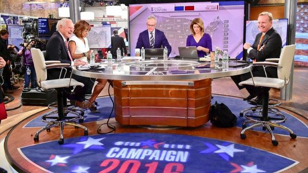 CBS 2016 election rehearsal with, from left, Bob Schieffer, Gayle King, Scott Pelley, Norah O'Donnell and John Dickerson. (John Paul Filo / CBS)