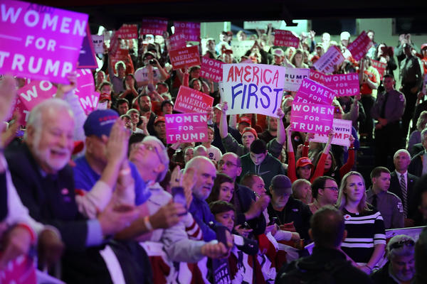 Supporters cheer for Donald Trump at a rally in Scranton, Pa., on Monday night. (Chip Somodevilla / Getty Images)
